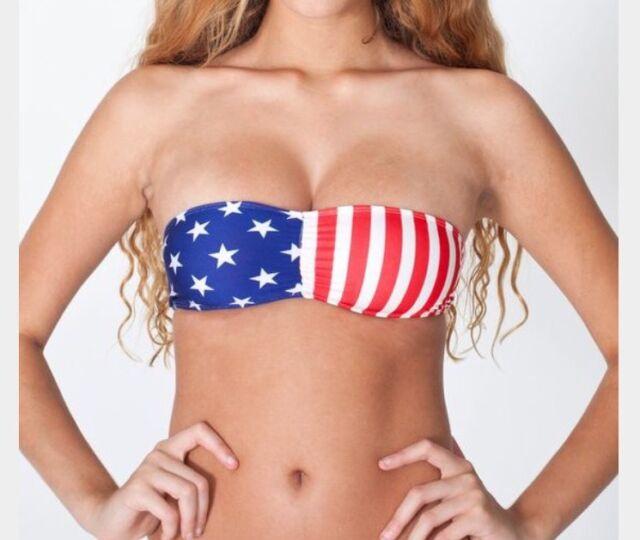 308a6d067f American Apparel July 4 Bandeau Tube Bra Bikini Top Stars Stripes USA Flag  L NEW