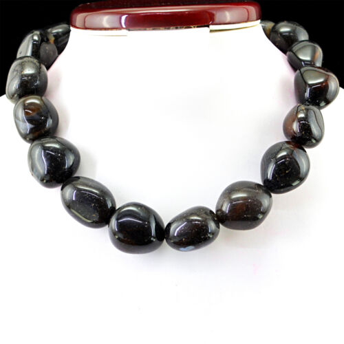 1155.50 CTS NATURAL UNTREATED RICH BLACK ONYX BEADS NECKLACE FREE SHIPPING