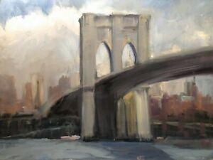 VINTAGE BROOKLYN  BRIDGE NEW YORK CITY SKYLINE  STUDY IMPRESSIONIST PAINTING