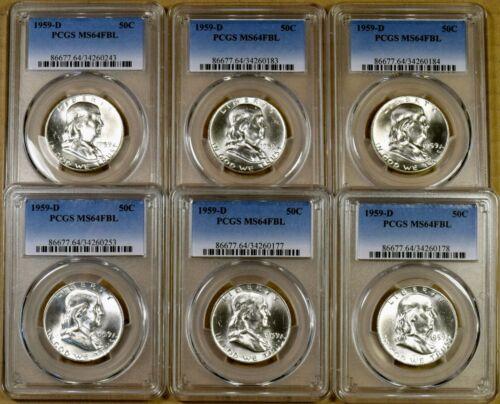 1959-D PCGS MS64 FBL Franklin Half Dollar 100/% White