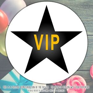 Personalised-Black-Star-VIP-Birthday-Party-round-stickers-labels-party-sheet