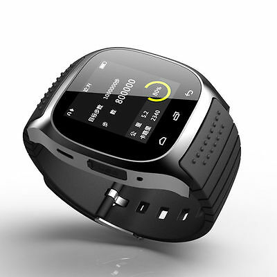 Bluetooth M26 Smart Sport Watch Wrist Phone for Android IOS iPhone Samsung Black