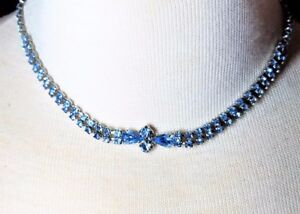Blue-Rhinestone-Choker-Necklace-Vintage-Double-Row