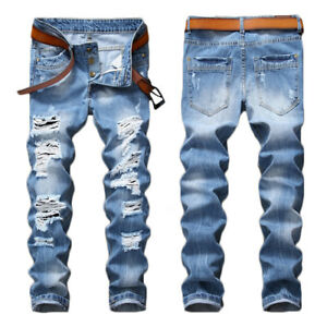 Fashion-Men-039-s-Light-Blue-Ripped-Destroyed-Jeans-Straight-Slim-Fit-Denim-Pants