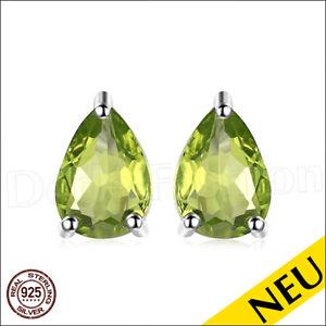 NEU-Ohrringe-PERIDOT-925-Sterling-Silber-PEAR-Ohrstecker-Rhodiniert-Luxus