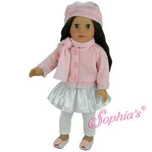 Doll-Clothes-18-034-Skirt-Sweater-Leggings-Scarf-Hat-Pink-Fits-AG-18-034-Dolls