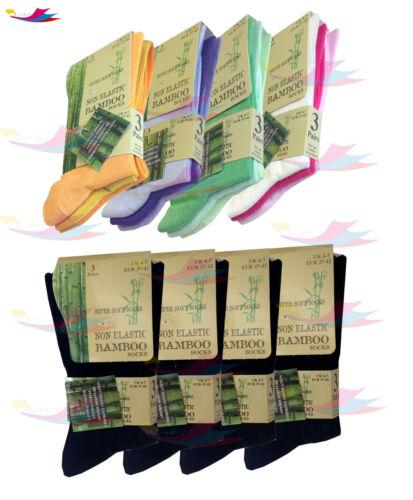Super Soft Anti Bacterial UK 4-7 Womens lot Of Ladies Bamboo Loose Top Socks