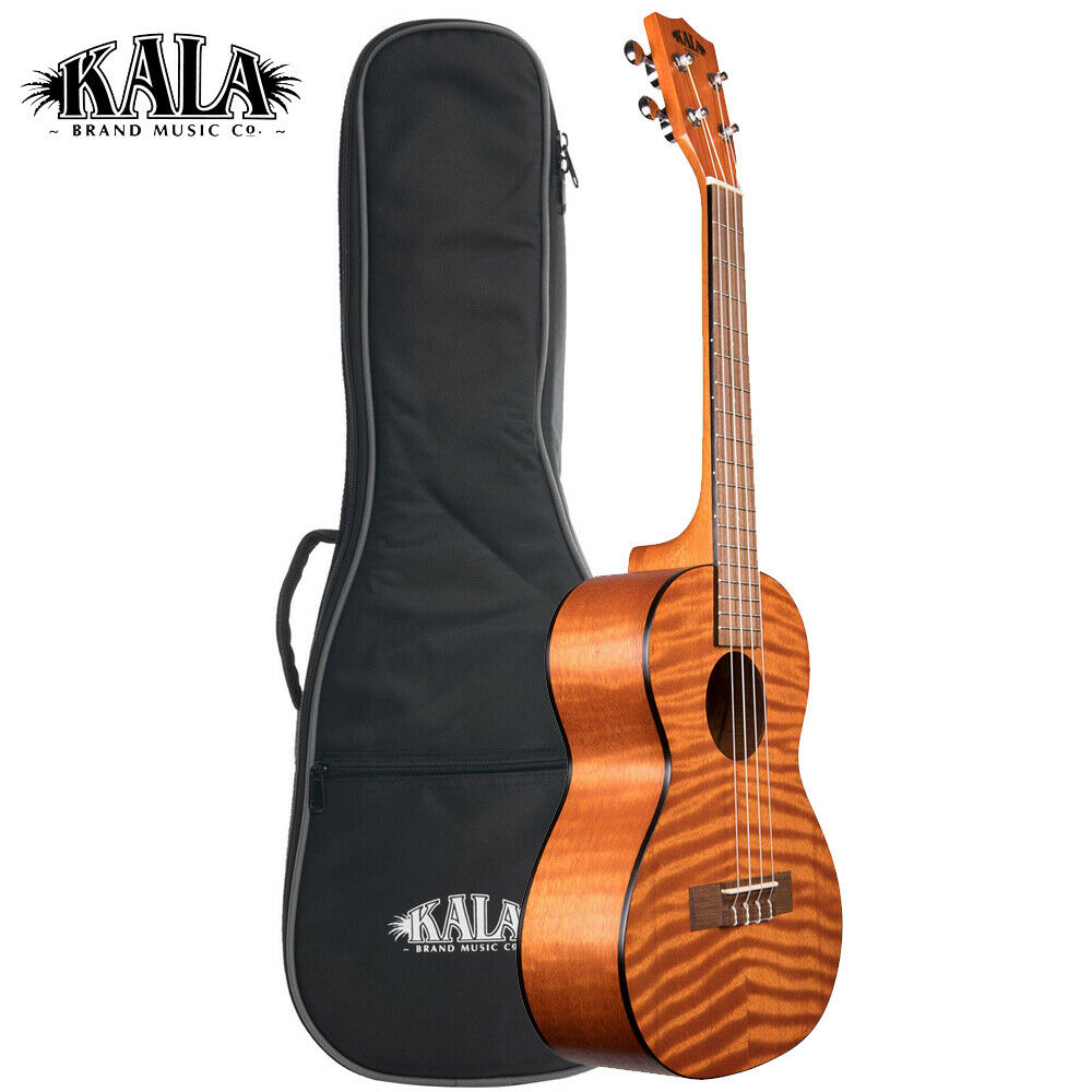 Kala KA-TEM Exotic Mahogany Series Tenor Ukulele Amber Finish w  Padded Gig Bag