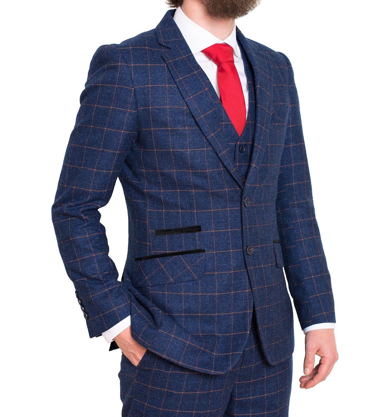 FDQ herren Blau Orange 3 Piece Suit Window Check TailGoldt Fit Retro Smart Vintage