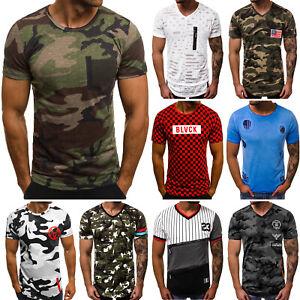 brand new b5c24 1188e OZONEE Herren T-Shirt Kurzarm Shirt U-Neck Camouflage ...