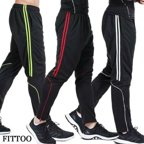 Mens Adjustable Waist Joggers Pants GYM Stripe Activewear Sports Casual Trousers