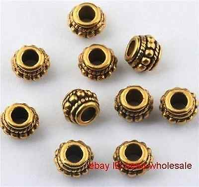Retro Golden Silver Stone Findings DIY Big Hole Spacer Beads For Jewelry Making