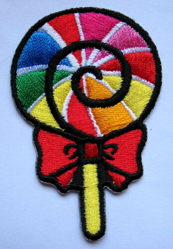 COLORFUL CUTE LOLLIPOP CANDY RED BOW Embroidered Iron on Patch Free Postage