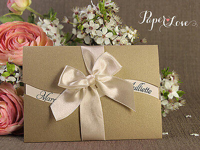 Luxury Bundle Wedding Invitations Day Satin Ribbon Wave FREE ENVELOPES HANDMADE
