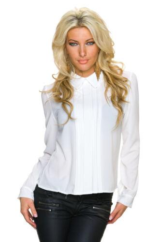 Camicia da Donna crespi bruni Camicia Tunica con biesenborte S 34 36 38 Ufficio Festa Club Shirt
