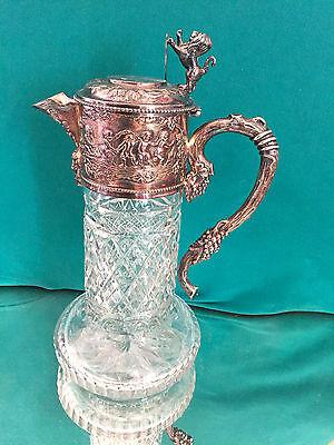 Große Karaffe Carafe Silber? Montur Kristall Putten, Maskaronen, Wein 29 cm H