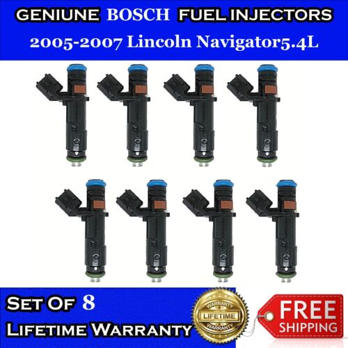 UPGRADED  8x OEM Bosch 4HOLE Fuel Injectors for 2005-2007 Lincoln Navigator 5.4L