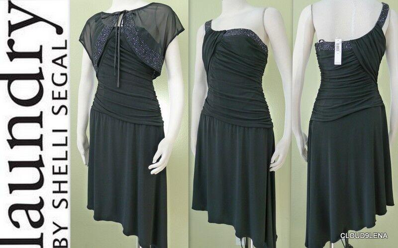 NWT() LAUNDRY by Shelli Segal Beaded One shoulder Asymmetric Dress + Bolero