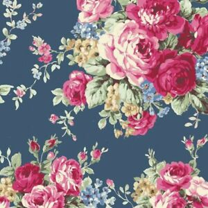 Cottage-Shabby-Chic-Quilt-Gate-RURU-Bouquet-Rose-in-Paris-RU2370-11E-Blue-BTY