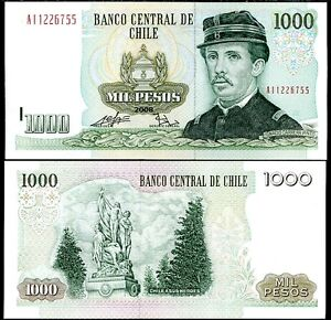 Coins & Paper Money Modest Chile 1000 1,000 Pesos 2008 P 154 Unc Exquisite Traditional Embroidery Art Paper Money: World