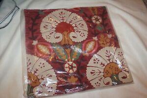 Pottery Barn Red Eloise Crewel Embroidered Velvet Pillow