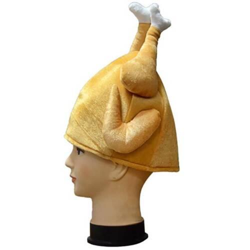 Turkey Chicken Leg Cap Hat Plush Stuffed Cosplay Halloween Ball Funny Adults  HS