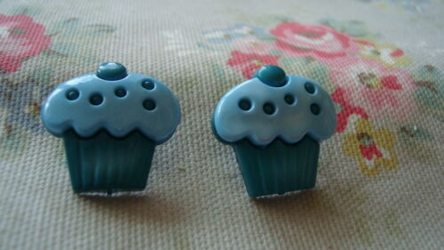 2 BLUE Cup Cake Realistic Plastic Buttons