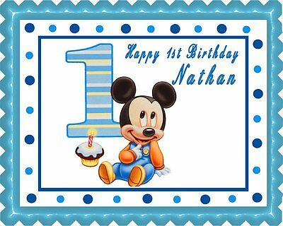 Miraculous Baby Mickey Mouse 1St Birthday Edible Cake Topper Or Cupcake Funny Birthday Cards Online Elaedamsfinfo