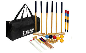 FIRE-FLY-Outdoor-Games-Lown-Sports-Croquet-Wooden-Set-6-Players-Mallets-Backyard
