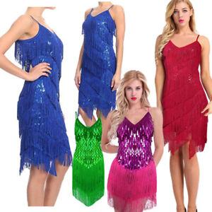99a28268d Women Sequin Fringe Dress Rumba Latin Dance Dress Samba Rumba Rhythm ...