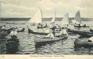 1907-Lake-Washington-Seattle-Canoeing-Recreation-Sailboats-Puget-Sound-Postcard