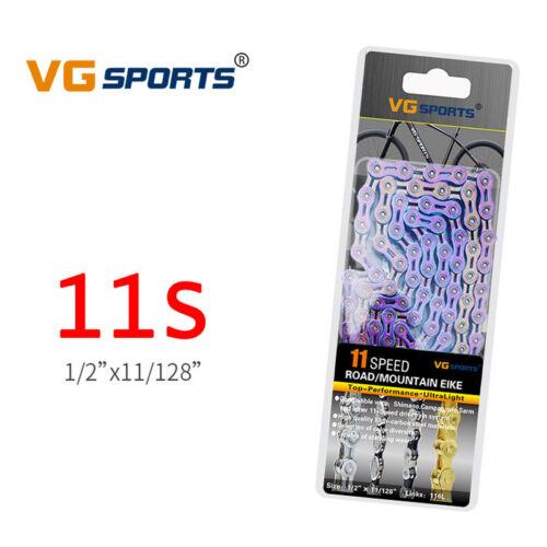 VG Sports Bike Fahrrad Fahrradkette 9//10//11 Speed Semi-Hollow 116L Rainbow