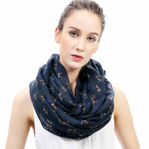 Dogs Print Infinity Long Scarf Pet Puppy Christmas Gift Idea for Dog Lover