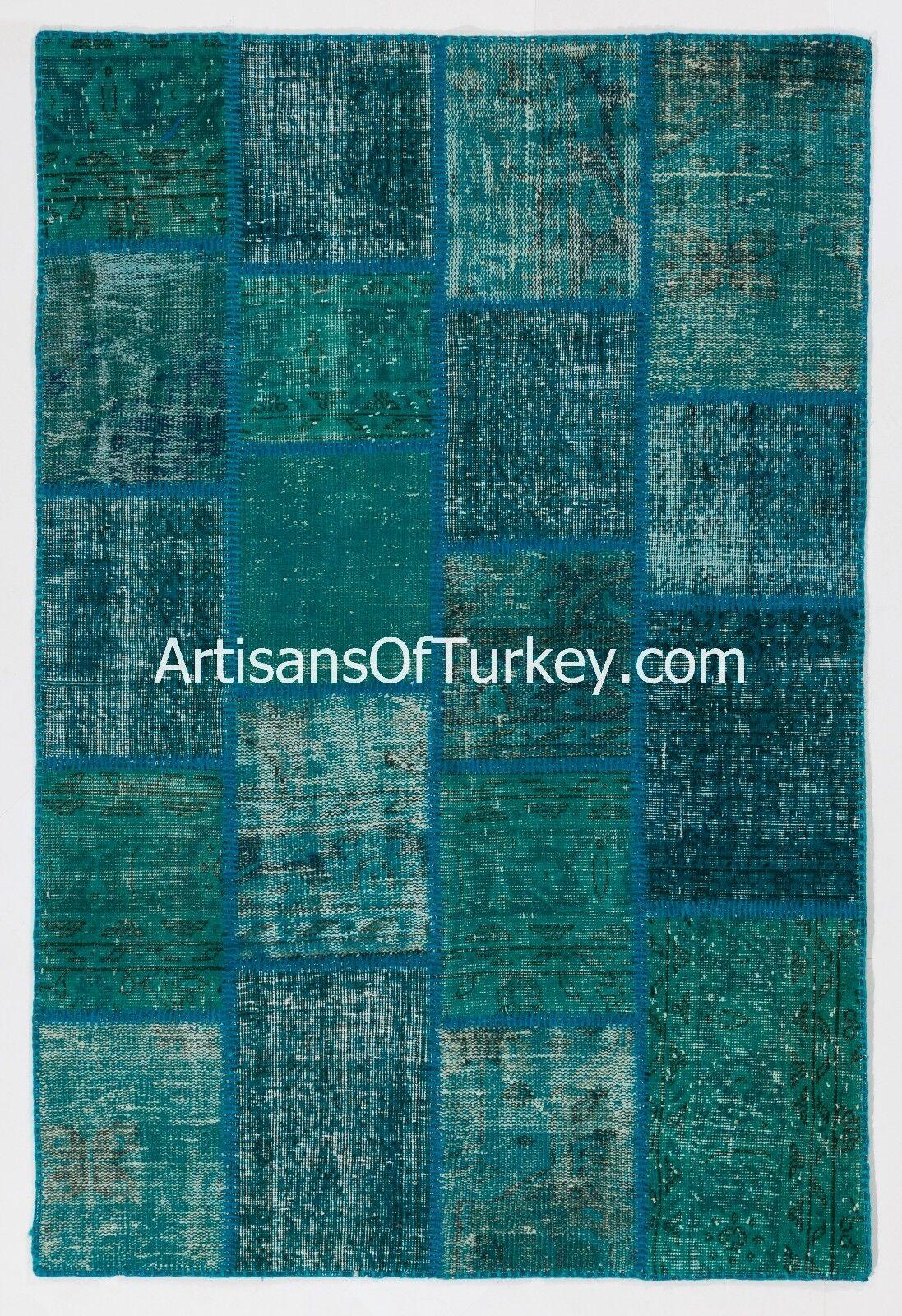 Color verde Azulado Alfombra De Retazos, alfombras hechas a mano de Overdyed Vintage turco