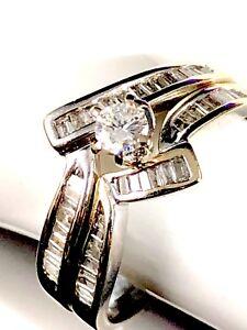 18-Ct-Macizo-Blanco-Oro-Amarillo-2-3-Ctw-Vs2-g-Diamante-Natural-Anillo-de-Boda