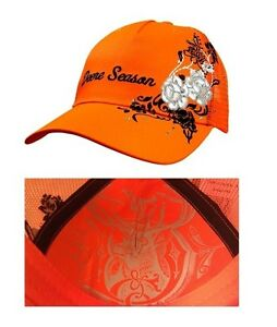 JOHN DEERE *DEERE SEASON* Ladies BLAZE ORANGE Mesh Cap w/Accents *BRAND NEW*