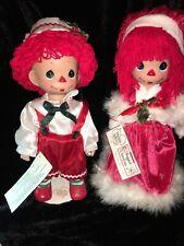 RARE~PRECIOUS MOMENTS~Raggedy Ann  & ANDY two Christmas dolls~ 12?