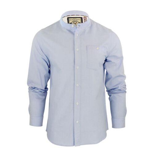 Brave Soul Casey Mens Shirt Long Sleeve Oxford Cotton Grandad Collar