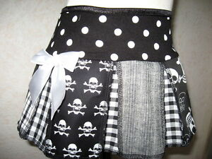skulls Grey party skirt Baby Girls Black White Funky spotted Check holiday Rock