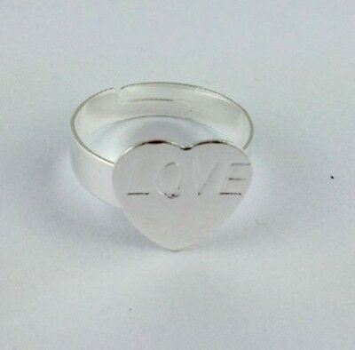30PCS Adjustable Ring Base Blank Glue-on Heart Pad *20778 FREE SHIP