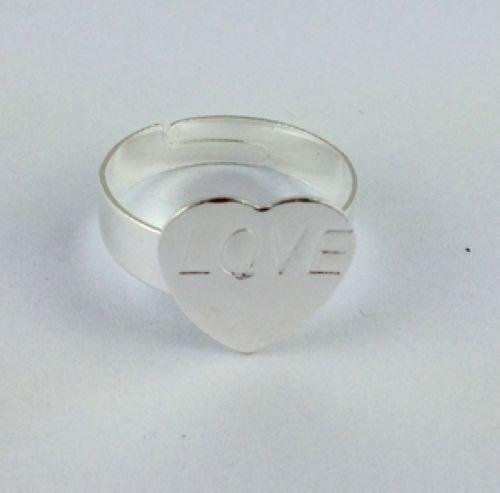 30PCS Adjustable Ring Base Blank Glue-on Heart Pad *20778 FREE SHIP