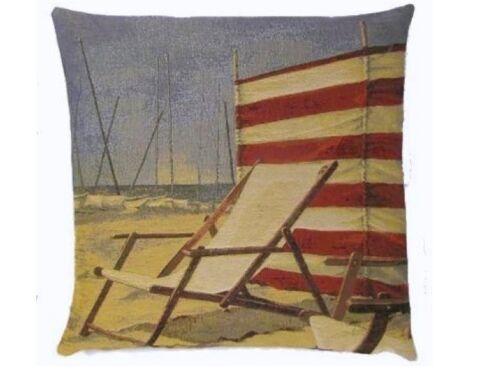 """18 /""""chaise de plage balnéaire belge bronzer Tissé Coussin Tapisserie Coton Belgique"""
