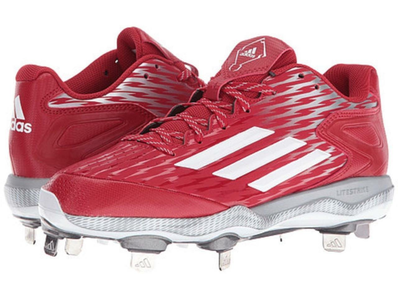 NEW Womans Sz-7.5 Adidas Power Alley 3 Metal Softball Baseball Cleats-Red White