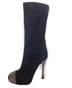 PAOLO-CONTE-BLACK-KNEE-HIGH-BOOTS-RHINESTONE-HEEL-amp-TOE-SZ-US-9-5