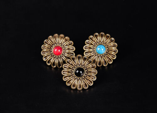 10PC 29X29MM Western Flower Turquoise Bridle Saddle Screwback Bling Conchos Tack