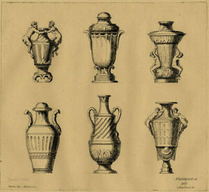 Ducerceau-Suite-de-Vases-Decoration-Gravure-XIXeme-siecle-Pequegnot