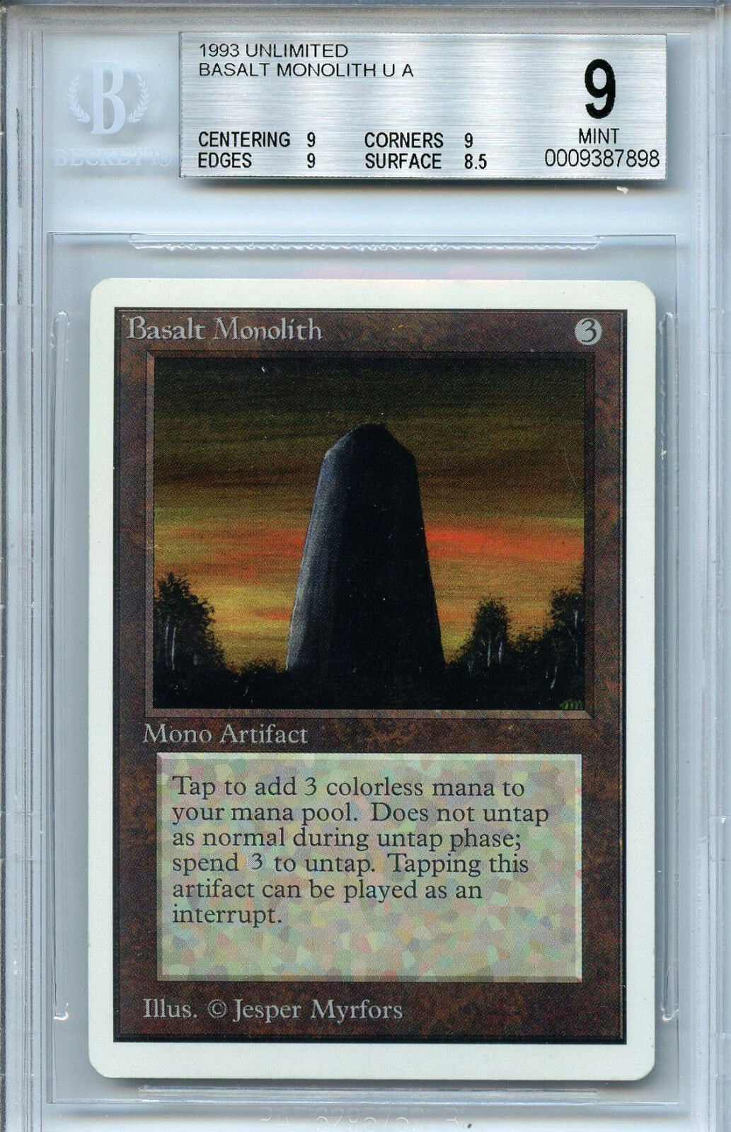 Mtg unbegrenzte basalt monolith bgs 9,0 (9) - karte magic the gathering 7898
