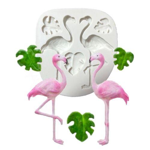 Flamingo Leaf Silicone Fondant Cake Mould Tropical Birds Baking Ice Mold lskn