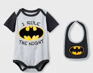Baby Boy Batman Bodysuit /& Bib I Rule the Night Gray NWT  24 Month