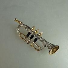 Neugablonz: Brosche Trompete Swarovski Elements um 1980 (41694)